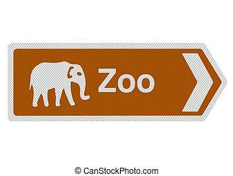 signe, blanc, isolé, zoo