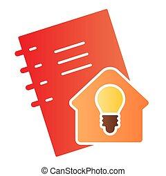 signe., blanc, maison, soi, plat, idée, icon., gradient, education, devoirs, étudier, arrière-plan., pictogramme, calepin, vecteur, conception, concept, cahier, style