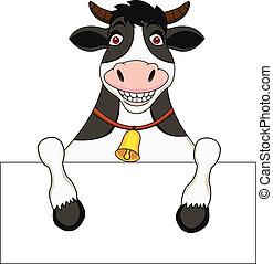signe blanc, vache, dessin animé