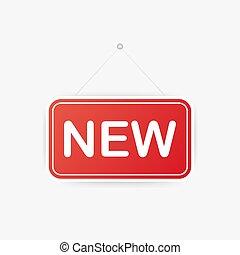 signe, blanc, vecteur, door., arrière-plan., signe., nouveau, illustration., pendre