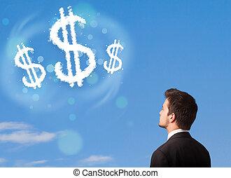 signe, bleu, dollar, ciel, nuages, pointage, businesman