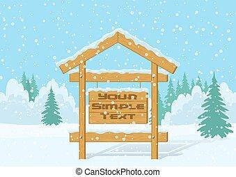 signe bois, forêt, hiver