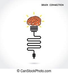 signe., business, lumière, concept., créatif, cerveau, connexion, ampoule, education, symbole