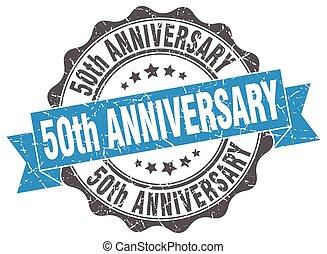 signe., cachet, anniversaire, 50th, stamp.