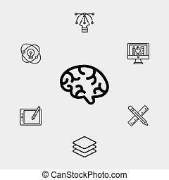 signe, cerveau, icône, symbole, vecteur