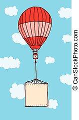 signe, chaud, balloon, vide, voler, pendre, air