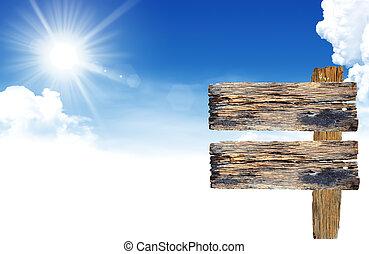 signe, ciel bleu, nuages, bois