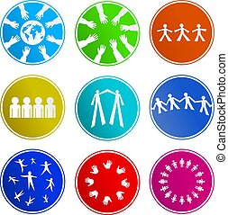signe, collaboration, icônes