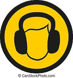signe, conception, vecteur, casque, site web, mobile, jaune,...