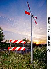 signe, coucher soleil, chemin fer