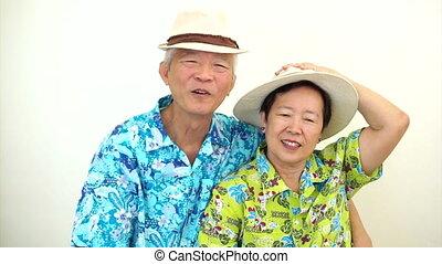 signe, couple, personne agee, asiatique, victoire