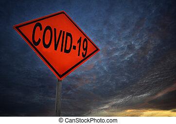 signe, couronne, ou, route, covid-19, virus