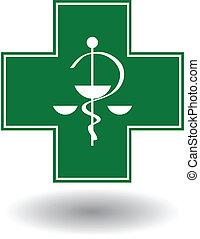 signe, croix, pharmacie