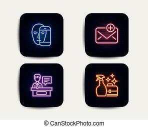 signe., détergent, pulvérisation, icons., figure, exhibitors, vecteur, nouveau courrier, biométrie