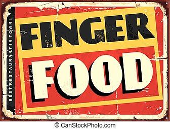 signe dîneur, nourriture, doigt, conception, surprenant