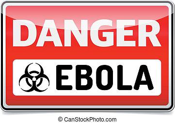 signe danger, refléter, arrière-plan., virus, ebola, ombre, blanc
