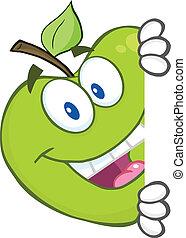 signe, derrière, dissimulation, pomme verte