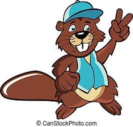 signe, dessin animé, illustration., écureuil, victoire