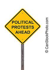 signe, devant, protests, -, prudence, politique