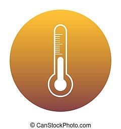 signe., diagnostique, circ, meteo, thermomètre, blanc, technologie, icône