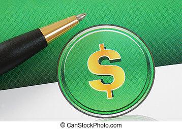 signe dollar, concepts, investir