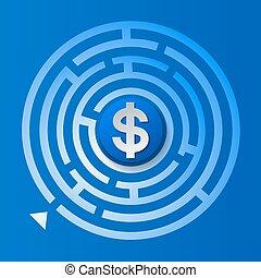 signe dollar, dans, les, encercler labyrinthe