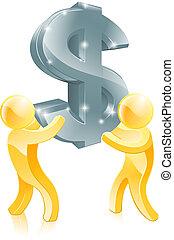 signe, dollar, or, gens