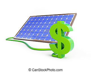 signe dollar, panneau, solaire