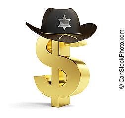 signe dollar, shérif, chapeau, sur, a, fond blanc