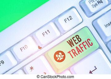 signe, données, toile, texte, photo, website., conceptuel, montant, reçu, envoyé, projection, traffic., visiteurs