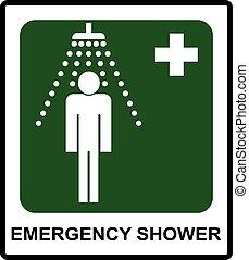signe, douche, sûr, condition, urgence