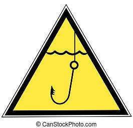 signe eau, jaune, crochet pêche