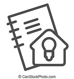 signe., education, calepin, style, pictogramme, concept, devoirs, étudier, ligne, soi, idée, vecteur, conception, maison, icon., contour, cahier, blanc, arrière-plan.