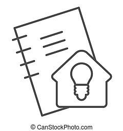 signe., education, calepin, style, pictogramme, concept, devoirs, étudier, ligne, soi, idée, vecteur, conception, maison, icon., contour, cahier, blanc, mince, arrière-plan.