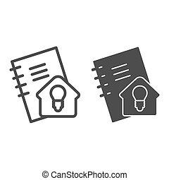 signe., education, calepin, style, pictogramme, concept, devoirs, étudier, ligne, soi, idée, vecteur, conception, maison, icon., contour, cahier, solide, blanc, arrière-plan.