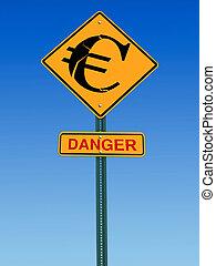signe, euro, devant, danger