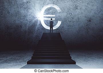 signe., euro, escalier, debout, homme affaires, regarder