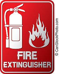 signe, extincteur, brûler