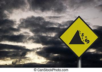 signe, 'falling, réaliste, espace, dépeindre, dollar', y, photo