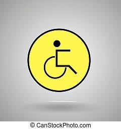 signe., fauteuil roulant, homme personne, handicapé, symbole