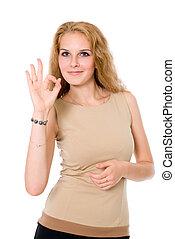 signe, femme affaires, portrait, ok, séduisant, indiquer