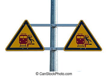 signe, ferroviaire, avertissement, station