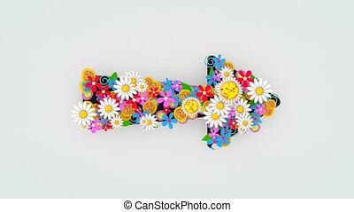 signe., flèche, décoration florale, fleur