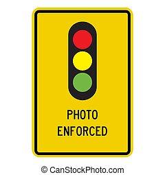 signe, forcé, vecteur, feu circulation, illustration, photo