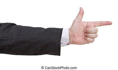 signe, -, fusil, geste, main