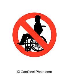 signe, gens, menaçant, interdiction, interdit, personne, disabilities., wheelchair., disabled., arrêt, rouges