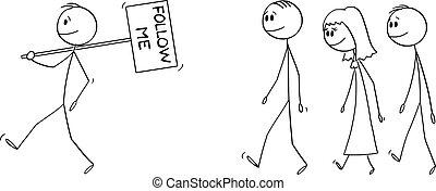 signe, gens, tenue, directeur, vecteur, ou, illustration, éditorial, homme affaires, me, foule, groupe, suivre, homme, dessin animé, mener