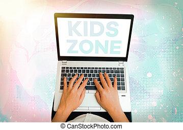 signe, gosses, conceptuel, conçu, permettre, enjoy., texte, projection, photo, région, ou, enfants, jouez secteur, zone.