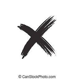 signe, grunge, croix, élément