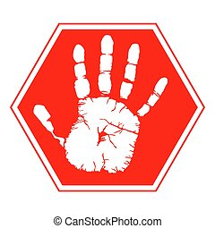 signe, handprint, symbole avertissement, illustration, vecteur, -